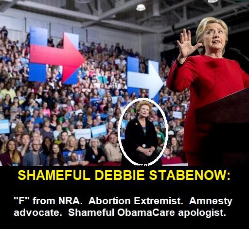 We have an excellent opportunity to defeat  Democrat Senator Debbie Stabenow of Michigan, an awful obstacle to our efforts to enact conservative reforms in the U.S. Senate. It's no surprise that Democrat Debbie Stabenow was one of Hillary Clinton's biggest backers. Please support our efforts by making a contribution online to Defeat Debbie Stabenow:https://secure.donationsafe.com/defeatstabenow