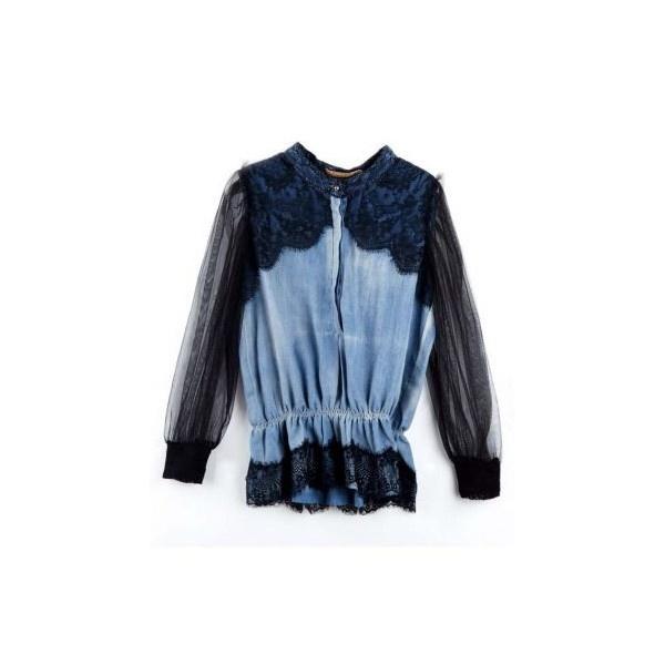 Vintage Stiching Lace Denim Shirt Black ❤ liked on Polyvore