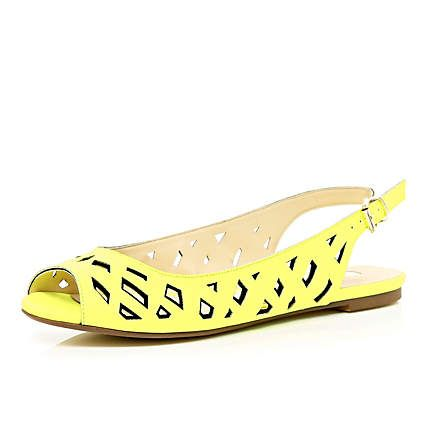 Lime cut out sling back sandals £22.00