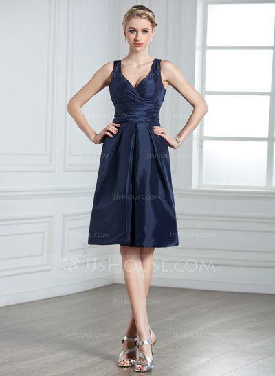 (butt bow, higher back, taffeta) Bridesmaid Dresses - $88.99 - A-Line/Princess V-neck Knee-Length Taffeta Bridesmaid Dress With Ruffle (007000926) http://jjshouse.com/A-Line-Princess-V-Neck-Knee-Length-Taffeta-Bridesmaid-Dress-With-Ruffle-007000926-g926?ver=n1ug2t&ves=vnlx6