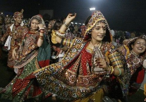 Gujrati garba dance in Gujrat.Women wear ethic colourful cloths and dance in circles to satisfy goddess durga devi.