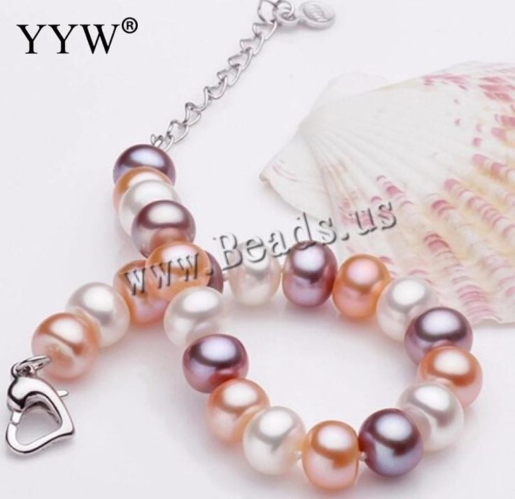 Free Shipping Pink Purple White Natural Freshwater Pearl Chain & Link Bracelets For Women Fashion Jewelry Silver Heart Clasp 7-8