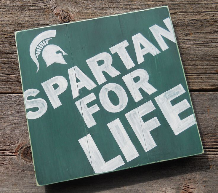 Spartan For Life Michigan State Spartans Sign. $59.00, via Etsy. for Michael!