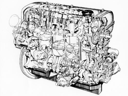 Morgan Hill Honda >> Ford Cosworth FVA Engine Cutaway drawing by Theo Page ...