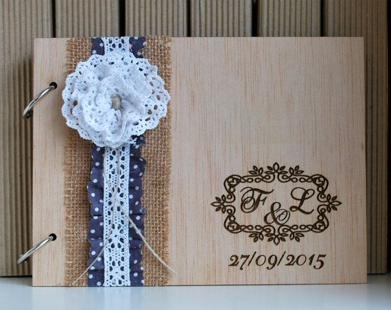 10% OFF Lace Wedding Guest Book  Lace Photo Album  by WoodYourDay