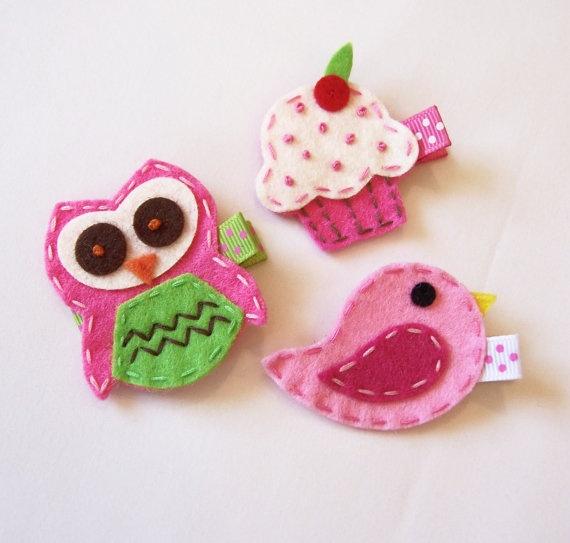 Felt hair clips-owl, cupcake and bird