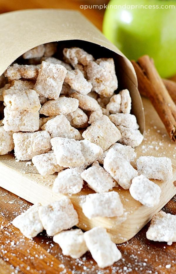 Cinnamon Pie Muddy Buddies by A Pumpkin and a Princess. These treats are perfect for a fall party, after school snack or anytime a sweet apple pie craving arises.