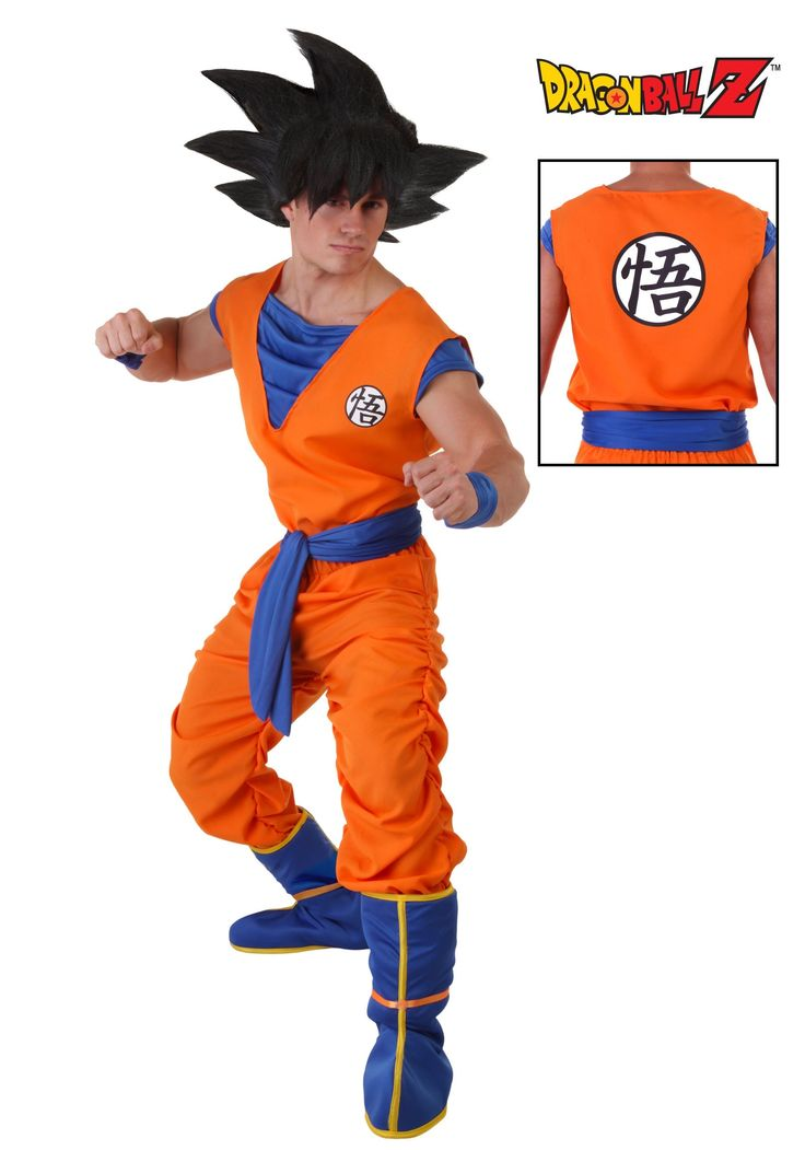 This costume looks ridiculous with that huge wig lol Adult Goku Costume