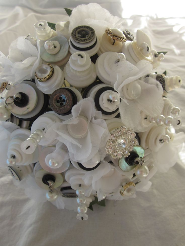 white fabric flowers, white cream and ivory with black, pearls and bling button wedding bouquet