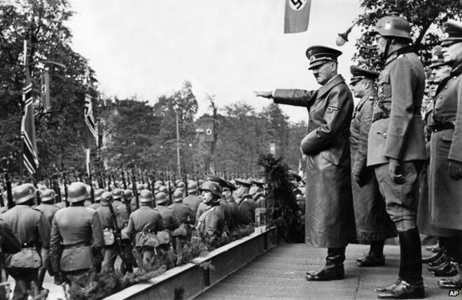 Hitler and his troops marching to Poland. The invation of Poland is spark that started ww1