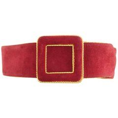 Ungaro Red Suede Belt with Gold Chain Trim - 38 - 1980's