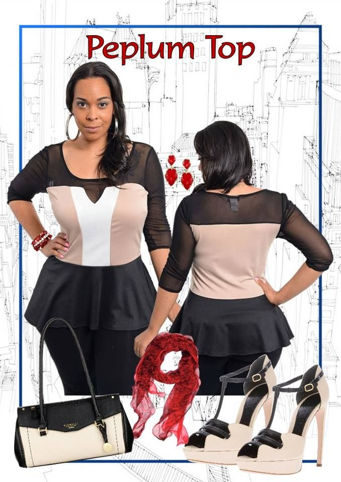 Nothing says classy and simple in this trendy colour block peplum top which will be suitable to wear for any occasion. Pair this top with body hugging skirt or fitted dress pants that will look fab from day to night.  Available in Plus Size 16 and is available from http://www.citystylechic.com.au/new-arrivalspeplum-top-with-mesh-bodice-and-sleeves