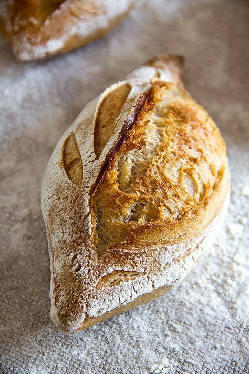 Rustikale Baguettebrötchen, Main dough:300 g wheat flour 550, 30 g whole wheat flour, 30 g rye flour 1150, 230 g of water, 3 g fresh, 7 g salt, 7 g of butter, ploetzblog.de/