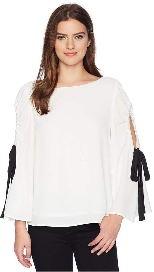 Women S Blouse Vince Camuto Bell Sleeve Tie Cold Shoulder Blouse