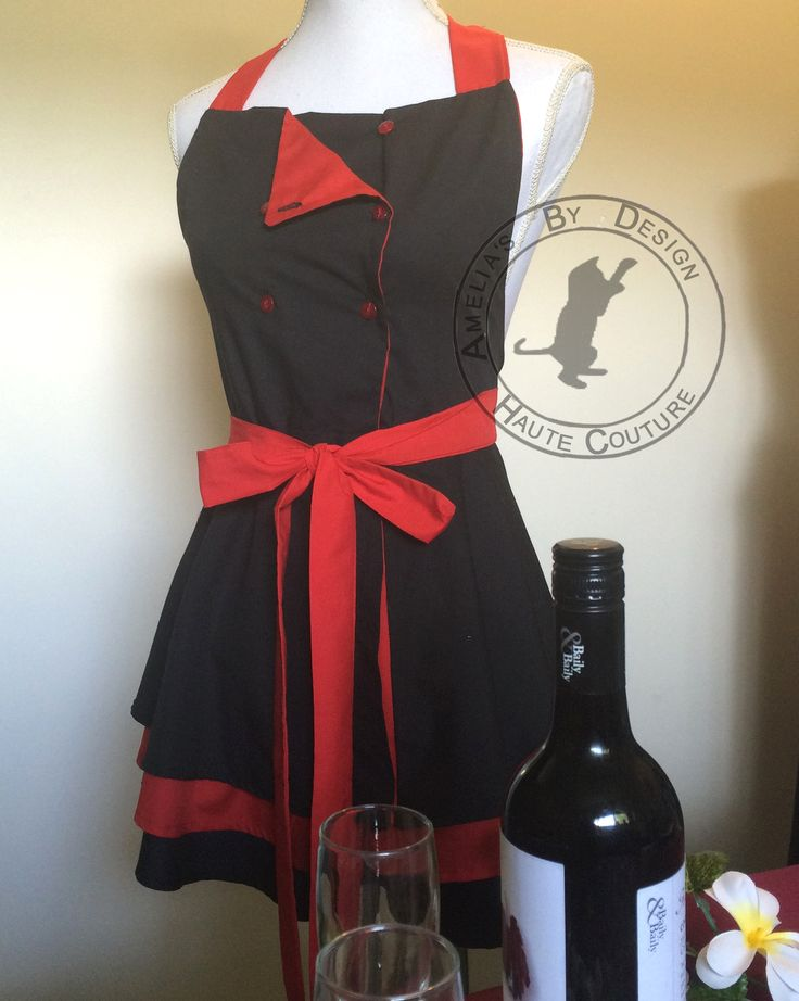Red and black chef apron