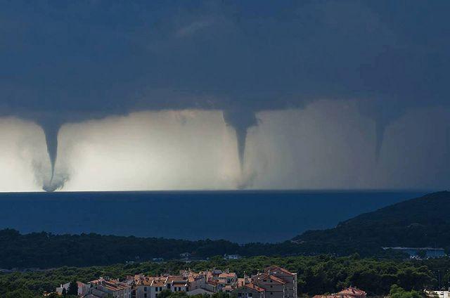 Triple tornado in Pula, Croatia