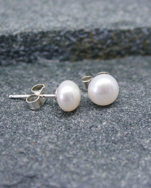 White freshwater pearl studs with good quality sterling silver posts and silver butterflies.  The pearls are 6mm.  #Bridal #Earrings #HandmadeJewellery #Pearl #Silver #Starboard #Wedding