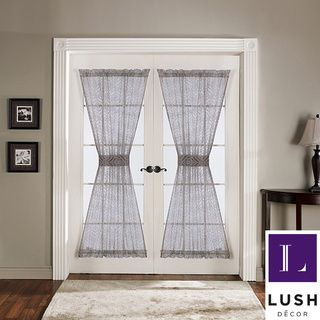 Lush Decor Antique Gray 72-inch French Door Panels (Set of 2) | Overstock.com Shopping - Great Deals on Lush Decor Curtains - Kitchen