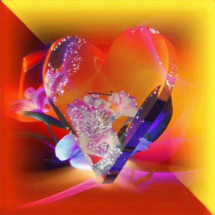 Открытки блестящие сердцем