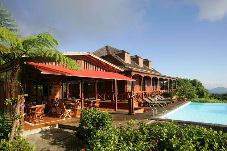 Manger au Panga en Guadeloupe c'est manger au milieu d'un jardin fruitier tropical, celui du Jardin Malanga mais aussi à coté d'une piscine à débordement.