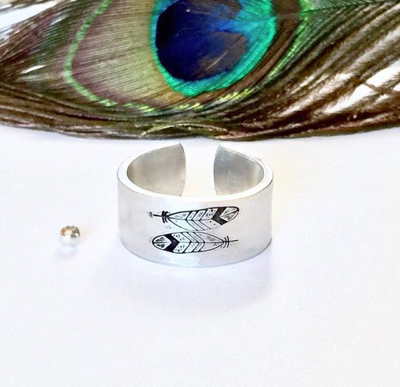 Feather Ring Hand stamped Ring Feather by AprilHyltonDesigns