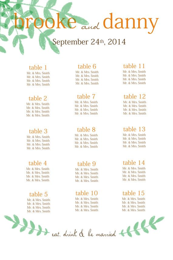 Green and Orange Wedding Seating by PleasebeSeatedDesign on Etsy, $50.00 Fall Wedding. Floral Wedding Seating Chart