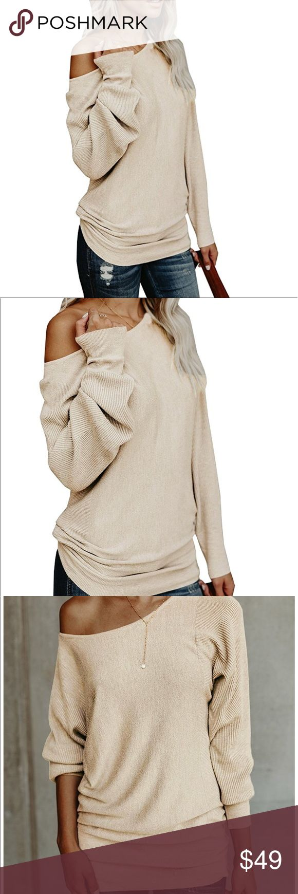 women knitted sweater off shoulder sleeve Beautiful women knitted sweater one shoulder loose material cotton blend available colors Black. White. Khaki. Navy.Wine red Sweaters
