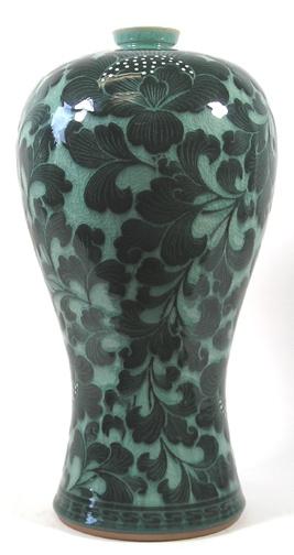 Cmv 20 Korean Celadon Mae Byeung Vase With Dark Green Flower Pattern By Ko Chung Wish List