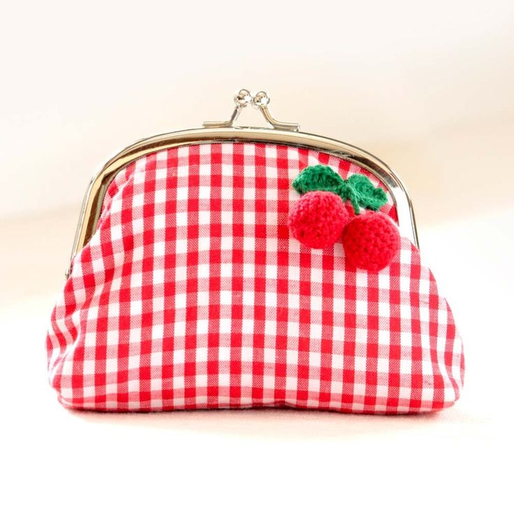 Handmade Frame Pouch with Red Cherries in Red and White, M size