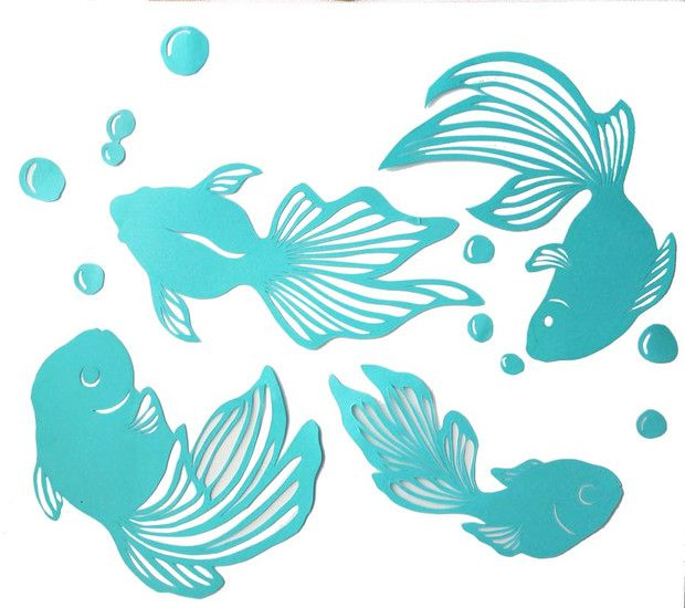 青金魚 切り人きまぐれん さんのイラスト 金魚 金魚 絵 刺繍 図案