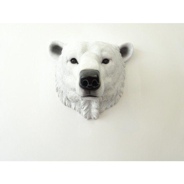 Faux Arctic Polar Bear Head Wall Mount Realistic Decoration