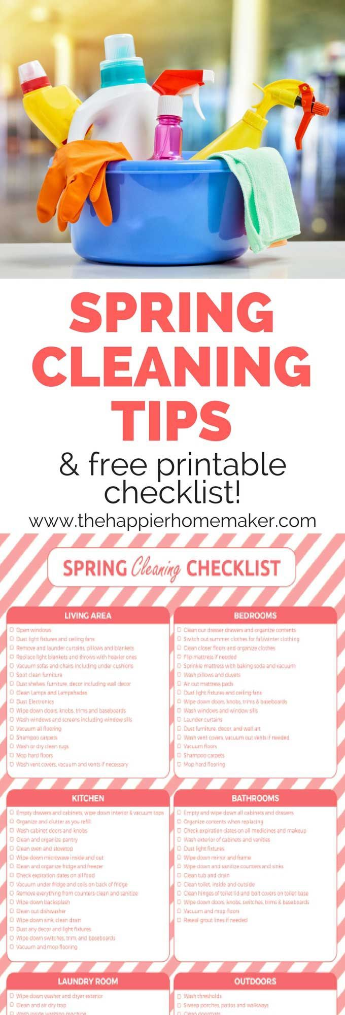 Five easy Spring Cleaning Tips to help you get the job done faster and free printable Spring Cleaning Checklist
