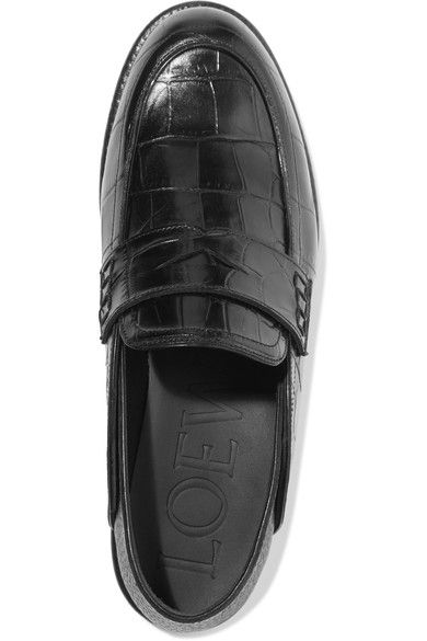Loewe - Croc-effect Leather Loafers - Black