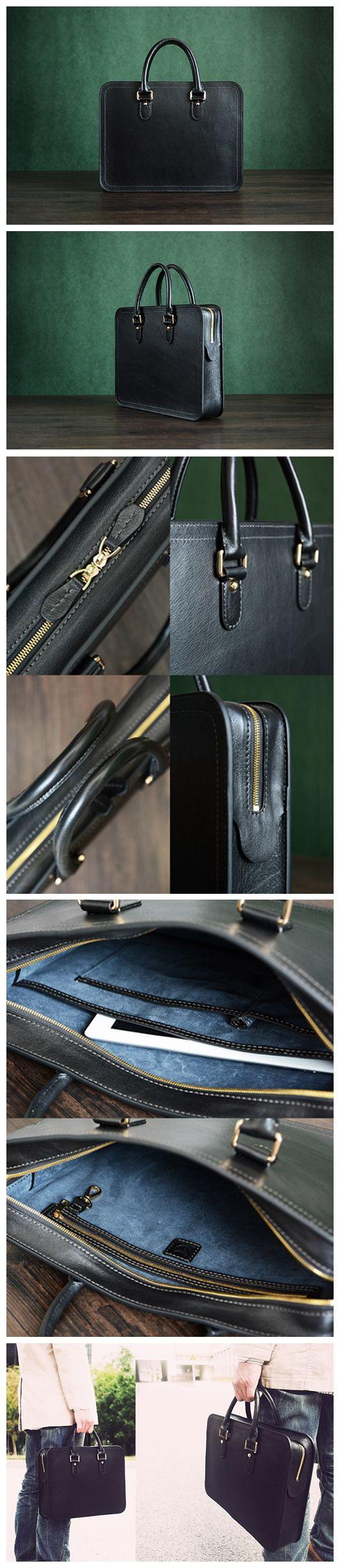 Custom Handmade Vegetable Tanned Italian Leather Briefcase Mens Handbag Business Laptop Bag