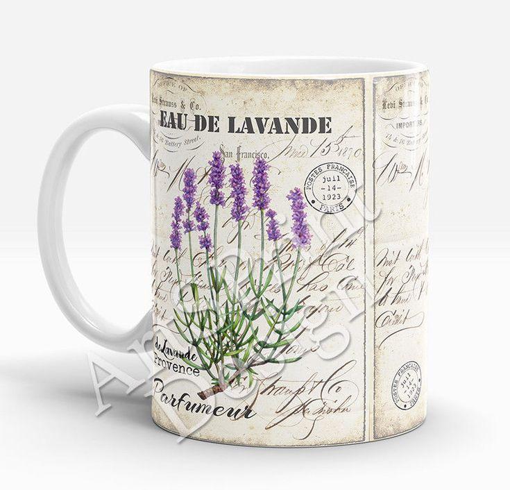 Vintage Lavender Mug Rustic Flowers Lavender Art Mug for Her Mother's Day Gift