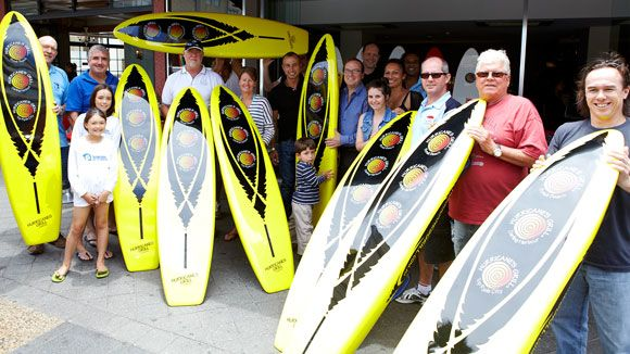 Eastern Suburbs Surf Life Saving Clubs - presented with surfboards
