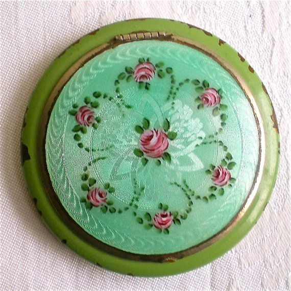 Antique Vintage Green Guilloche Enamel Compact French