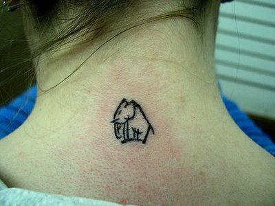Cute little tiny elephant neck tattoo