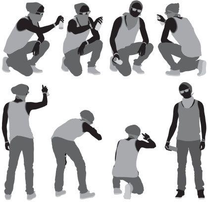 Vectores libres de derechos: Multiple images of a man doing…