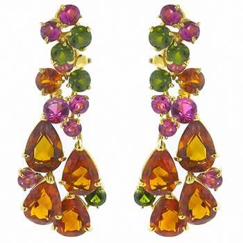 Citrine, green tourmaline and pink tourmaline earrings