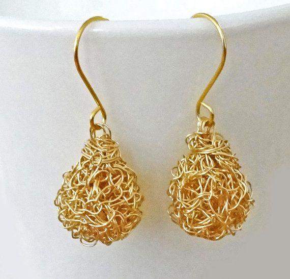 Gold crochet earrings. Handmade crochet wire  dangle by ByDrora, $25.00