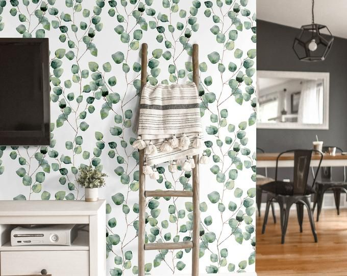 Black Watercolor Removable Wallpaper Brush Strokes Self Adhesive Or Traditional Material Leaf Wallpaper Removable Wallpaper Green Floral Wallpaper Brush stroke removable wallpaper