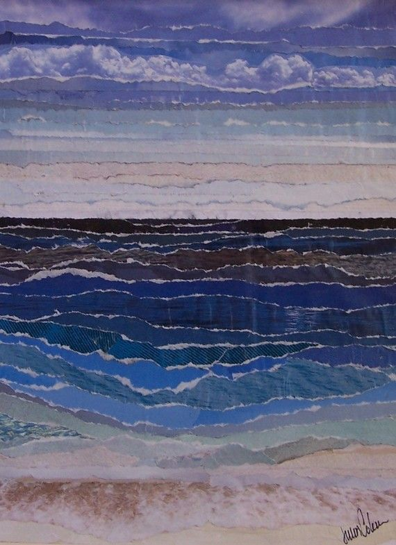 Rip Tides - torn paper collage - Julia Watts Coleman, U.S.A.