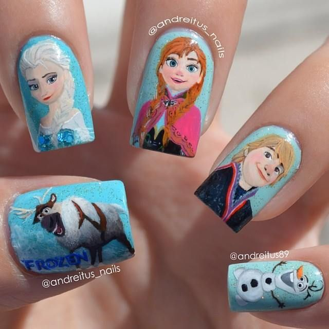 Frozen! These are ridiculously detailed. They don't look like stickers.  I can't imagine getting something like this on non-acrylic nails.