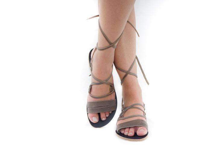 Ikaria dark grey Kyma Lace up leather sandals