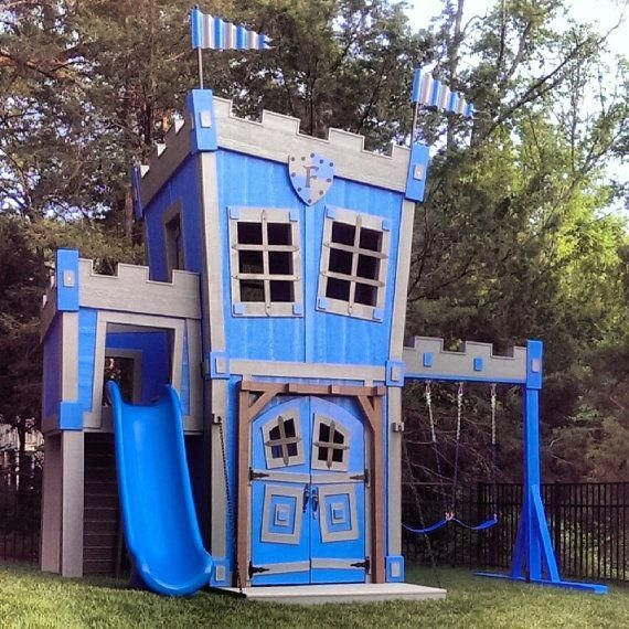 Incredible Castle W Swings Slide Secret Passage Built In Shelves Table Two Story Personalized And More Play Houses Playhouse Outdoor Build A Playhouse