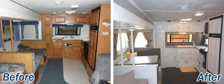 Nice remodel of an older Jayco park model, featuring a white and gray color palette. I love how the front kitchen has extra cabinets over the window. So many of the newer models have a giant window in front and no overhead cabinets.
