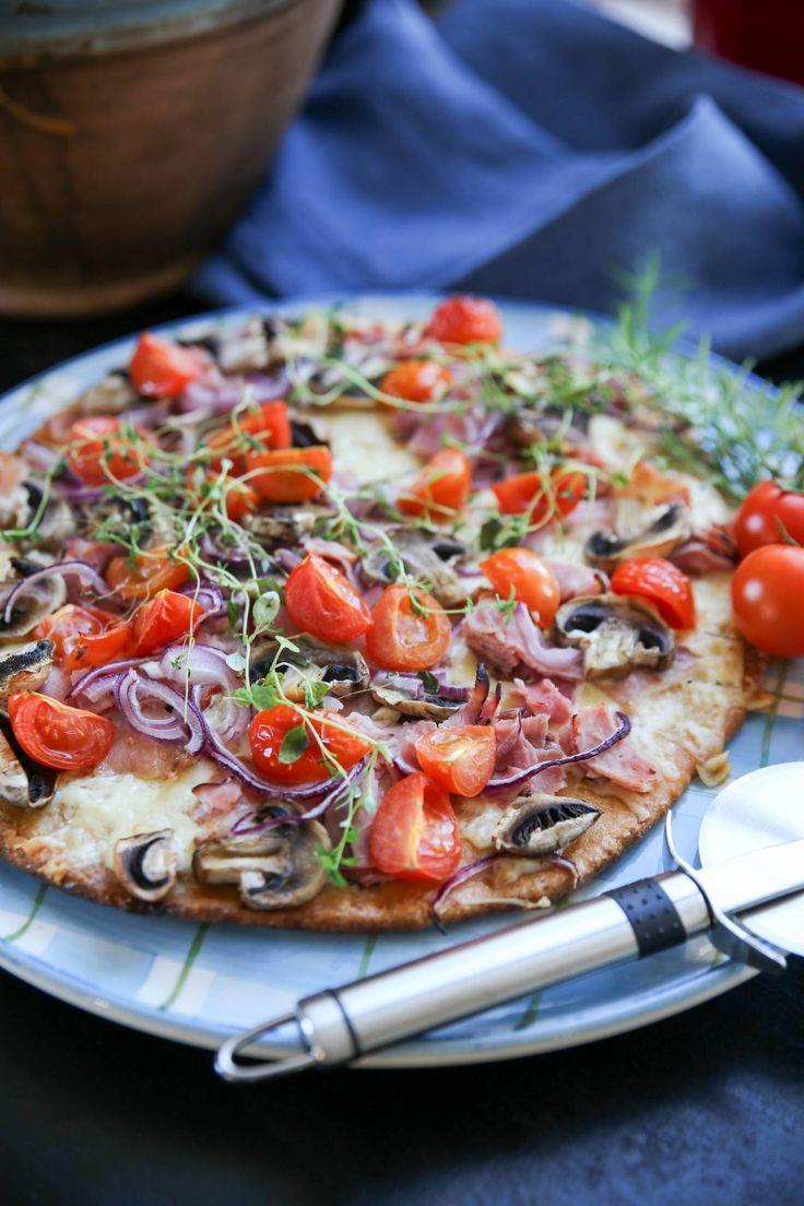 glutenfri pizza på mandelmjöl