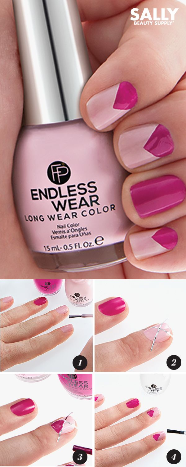 Pink color-blocked manicure