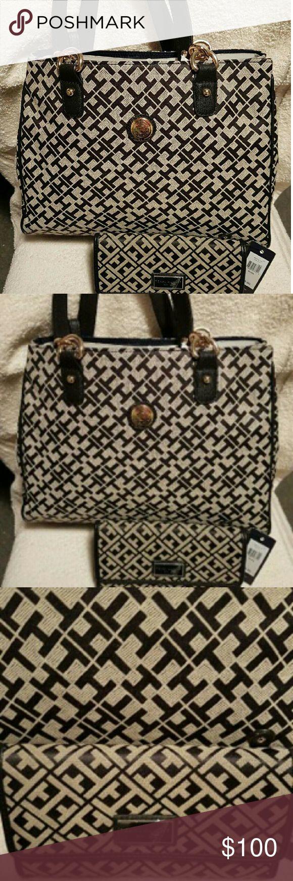 Set handbag and wallet Tommy Hilfiger Set handbag and wallet Tommy Hilfiger black and cream. Tommy Hilfiger Bags Shoulder Bags